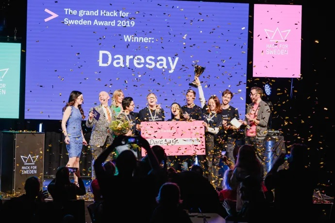Bild på Team Daresay som vann 2019 års Hack for Sweden